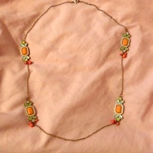 Mint green and coral necklace.